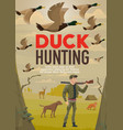 hunter hunting duck with gun or rifle and dog vector image vector image