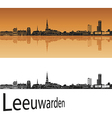 Leeuwarden skyline in orange background vector image vector image