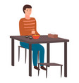 man sitting at table eating delicious japanese vector image vector image