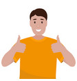 man with a beard shows a thumb up like sign vector image