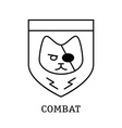 minimal vintage labels with the combat cat on vector image