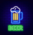 neon beer sign on brick wall background vector image
