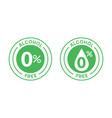 non alcoholic round icon stamp zero alcohol sign vector image vector image