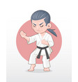 old man karate master in fighting stance vector image vector image