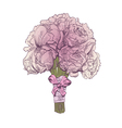 Peony wedding bouquet isolated vector image vector image