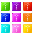 pneumatic plugger hammer icons 9 set vector image vector image