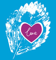 prints white leaf on a blue background love vector image vector image