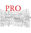 pros word cloud concept vector image vector image