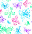 Seamless pattern of watercolor butterflies vector image vector image