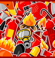 seamless pattern with firefighting stickers fire vector image