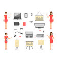set of business elements and girls in a dress vector image