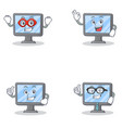 set of monitor character with hero okay proud and vector image vector image