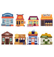 set restaurant and cafe building facades flat vector image vector image