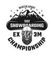 snowboarding championship emblem vector image vector image