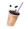 tea with tapioca realistic is vector image vector image