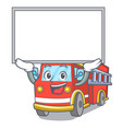 up board fire truck character cartoon vector image vector image