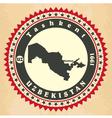 Vintage label-sticker cards of Uzbekistan vector image vector image