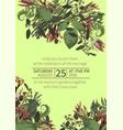 wedding watercolor seasonal flower cardplants vector image