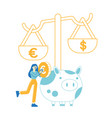 woman save and collect money in thrift-box open vector image vector image