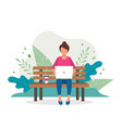 woman with laptop sitting on bench in nature vector image vector image