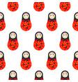 russian doll matryoshka red seamless pattern vector image