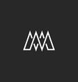 M letter monogram mockup logo intersection thin vector image