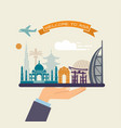 welcome to asia attractions of asia on a tray vector image
