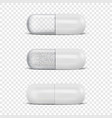3d realistic white medical pill icon set vector image