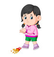 a girl with her potatoes fries fall down vector image