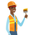 african-american house painter with brush vector image vector image