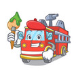 artist fire truck character cartoon vector image