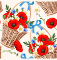 basket with flowers seamless vector image