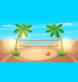 beach volleyball cartoon landscape vector image vector image