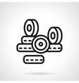 Black line longboard wheels icon vector image vector image