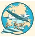 Bon voyage abstract retro plane poster vector image