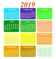 calendar on 2019 year months of color icons vector image