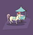 carnival circus horse and food booth retro vector image vector image