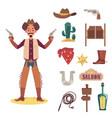 cartoon cowboy man with guns and object set - flat vector image vector image