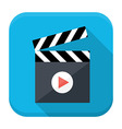 Clapboard play flat app icon with long shadow vector image