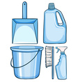 Cleaning set in blue color vector image vector image