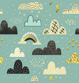 clouds sky seamless pattern childish background vector image