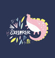 cute dinosaur color flat hand drawn vector image