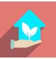 Flat web icon with long shadow Eco-house vector image vector image