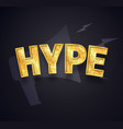 gold hype text isolated icon on dark vector image