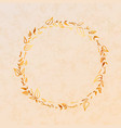 golden detailed leaves wreath on beige paper vector image