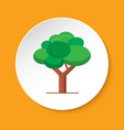 green tree icon in flat style on round button vector image vector image