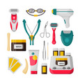 hair removal icon set isolated vector image