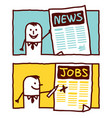 hand drawn cartoon characters - news jobs vector image vector image