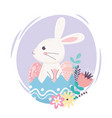 happy easter day cute rabbit in eggshell eggs vector image vector image
