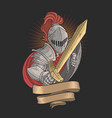 knight with a golden sword vector image vector image